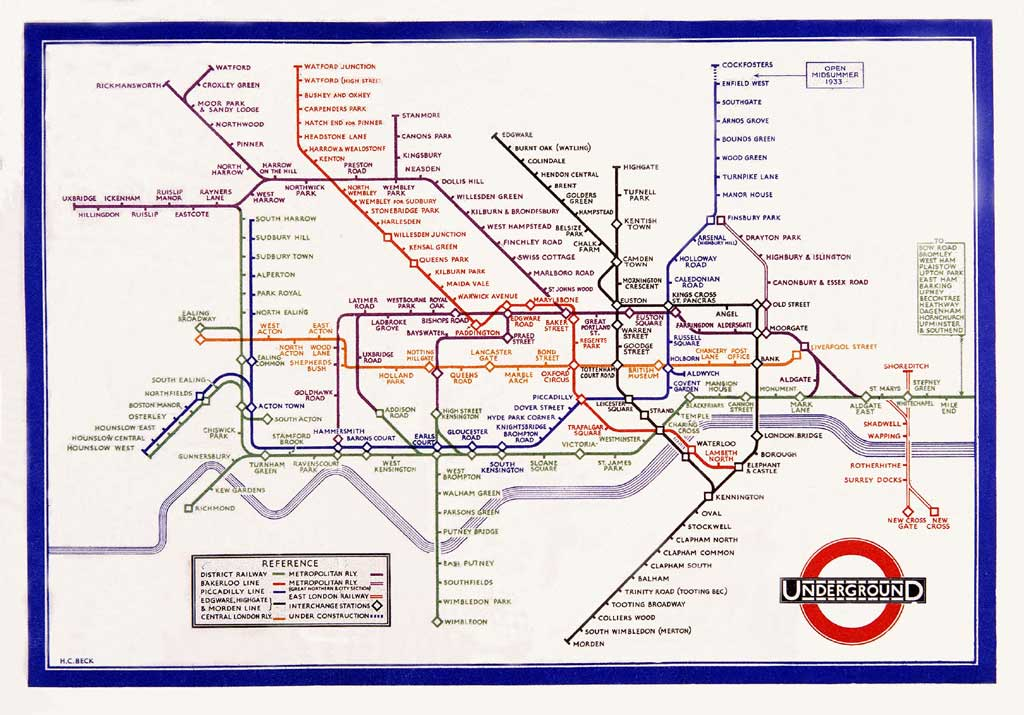 Printable London Subway Map.Mapcarte 1 365 London Underground Pocket Railways Map By Harry Beck