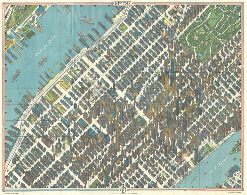 MapCarte 21365 View and Map of New York City by Herman Bollmann