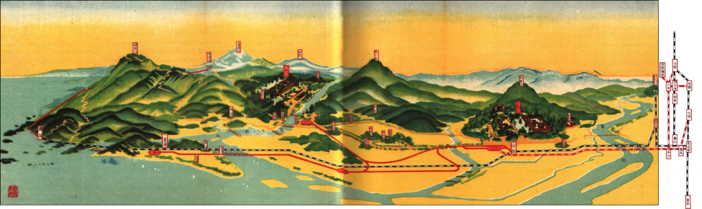 Map of Ise shrine contextualised by mountain shapes