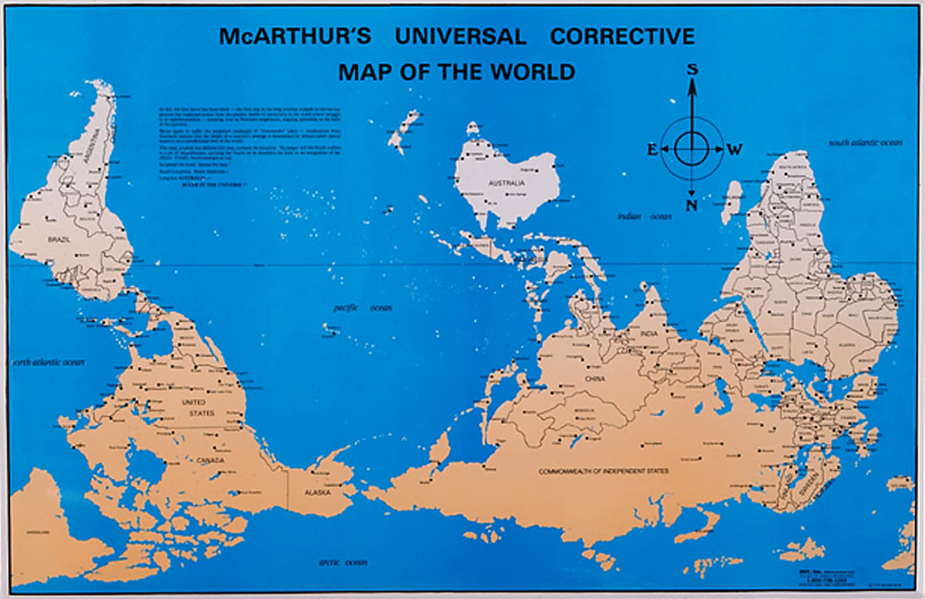 Australia In World Map.Mapcarte 38 365 Mcarthur S Universal Corrective Map Of The World