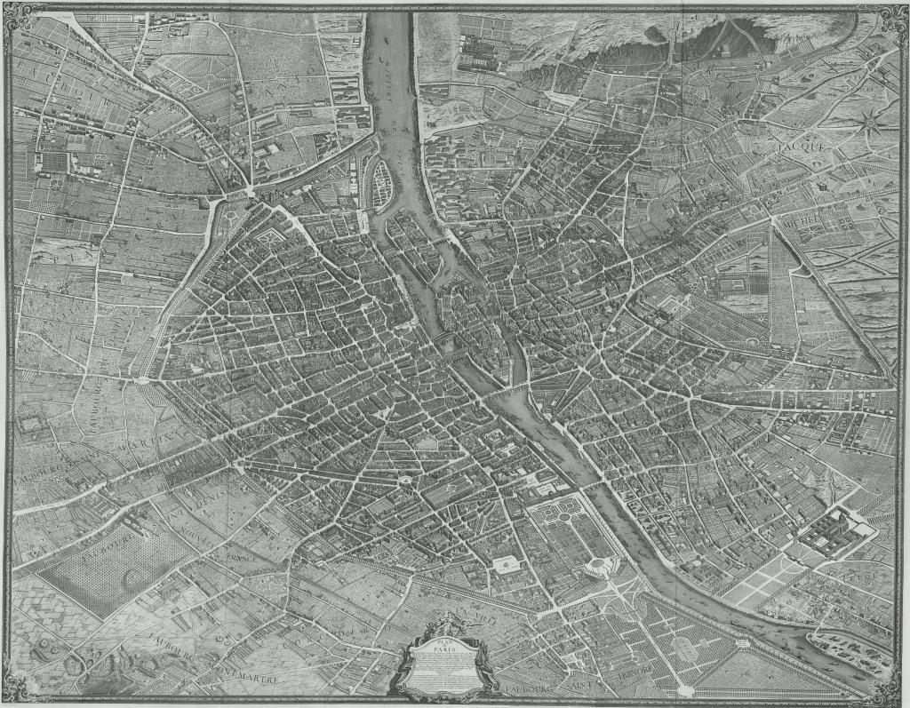 Large Scale Map Of France.Mapcarte 44 365 Plan De Paris By Louis Bretez 1739 Commission On