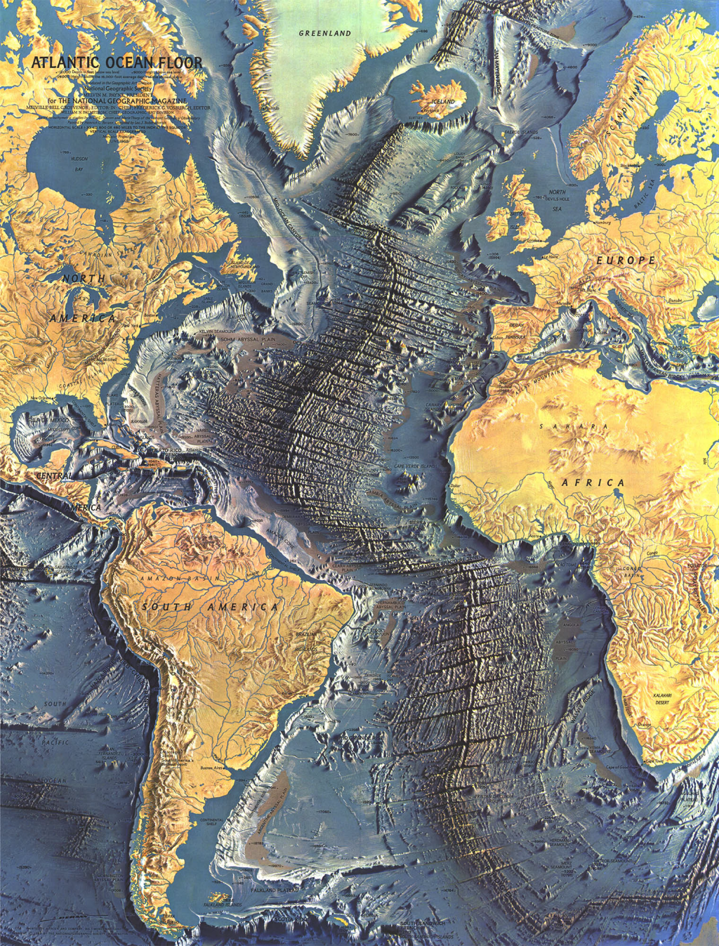 Ocean Floor Elevation Map : Mapcarte atlantic ocean floor by heinrich berann