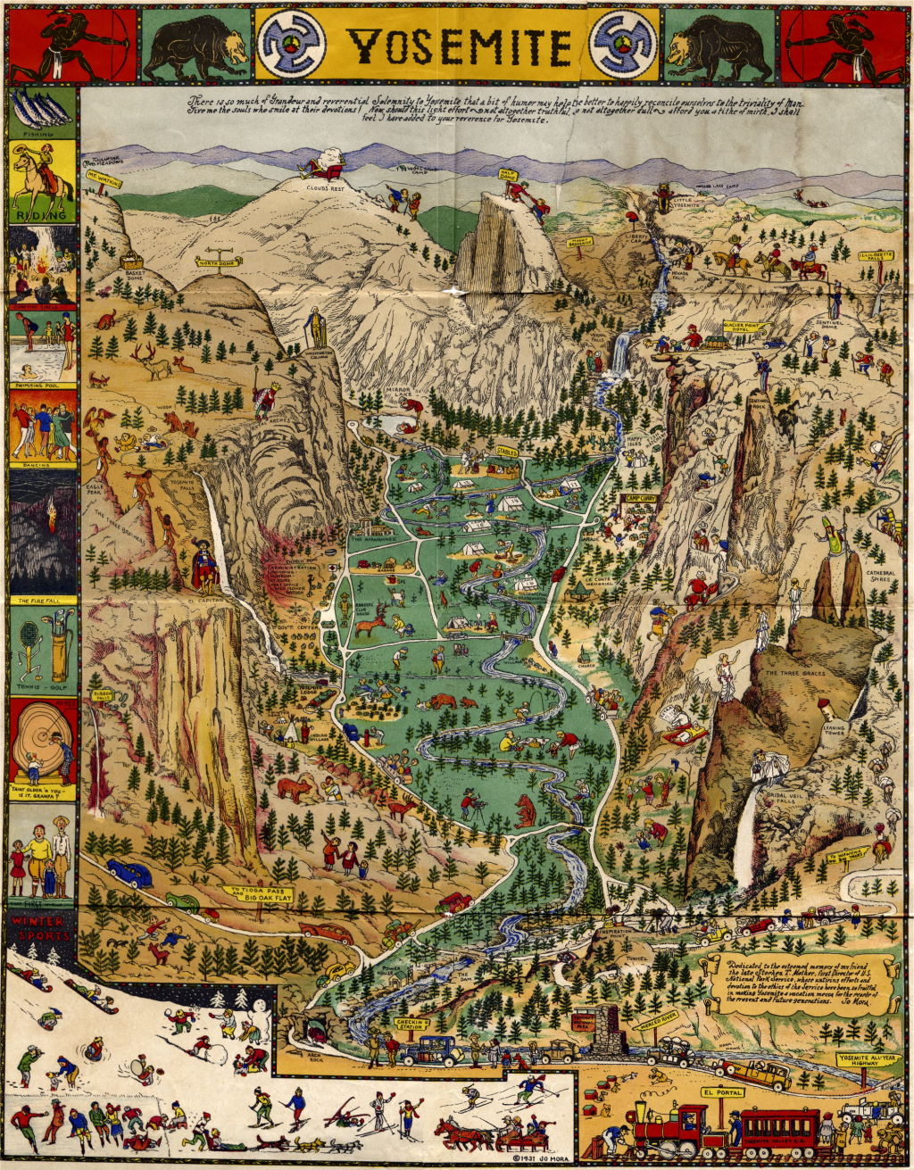 MapCarte 107365 Yosemite by Jo Mora 1931 – Yosemite Tourist Map