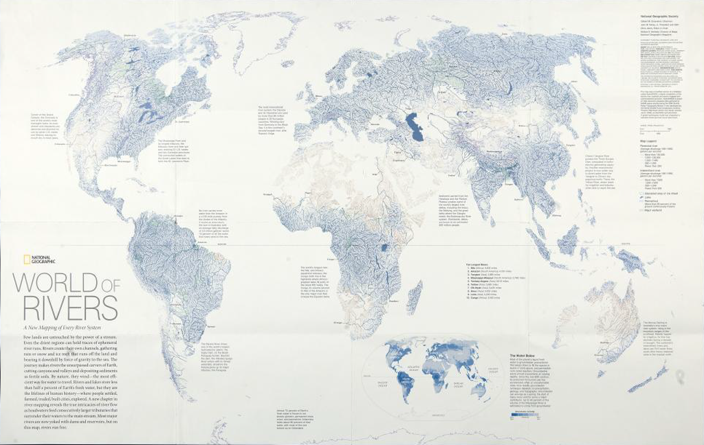 Geographic Map Of World.Mapcarte 171 365 World Of Rivers By National Geographic 2007