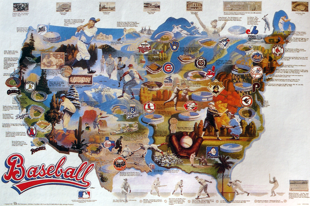 Pictorial Commission On Map Design - Us map of baseball stadiums outline