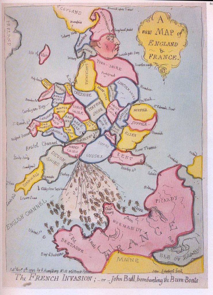 MapCarte 322/365: A new map of England and France by James Gillray ...