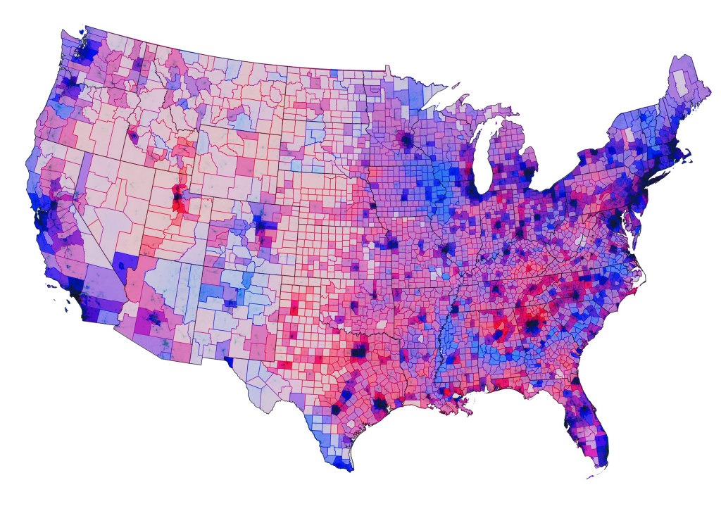 MapCarte Presidential Election By Chris Howard - Purple map of the us election