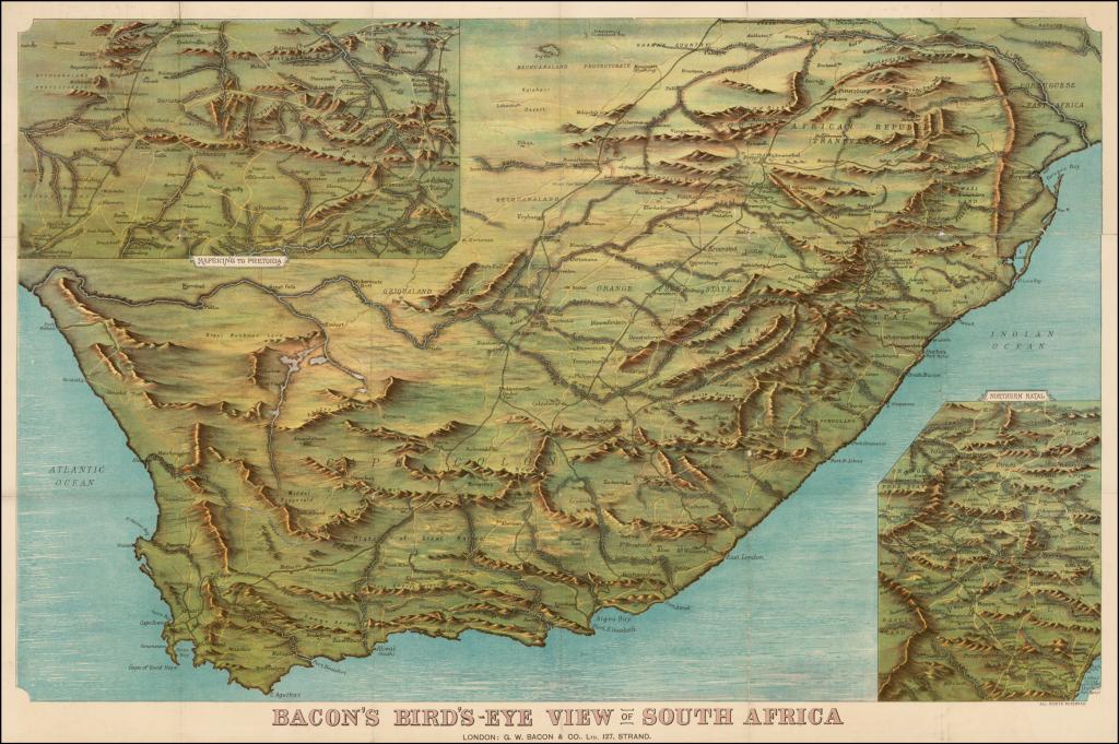 MapCarte 346365 Birds eye view of South Africa by G W Bacon ca
