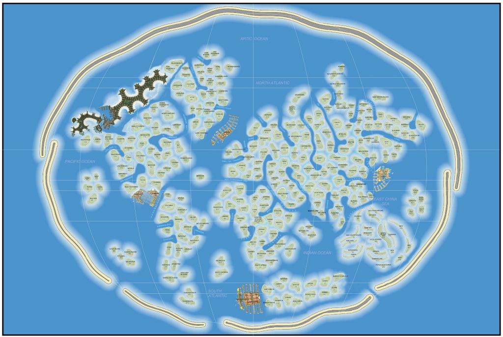 Map Of World Islands.Mapcarte 350 365 World Islands By Nakheel Properties 2003